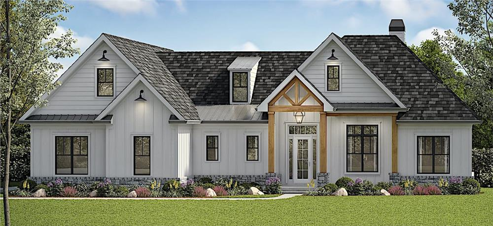 White Cottage style home with timber accents, large windows and shed dormer