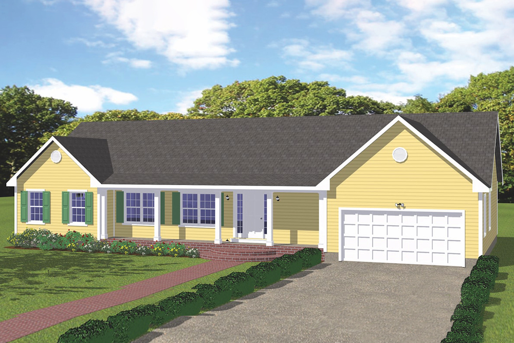 3-bedroom Ranch style home with yellow clapboard siding and gable roof