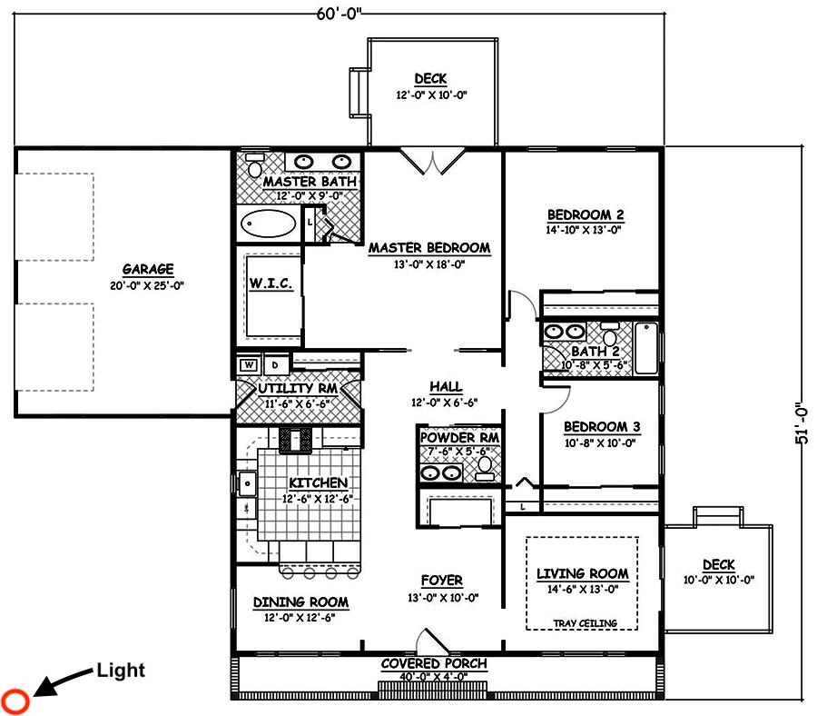 Floor plan of corner lot house plan #200-1030