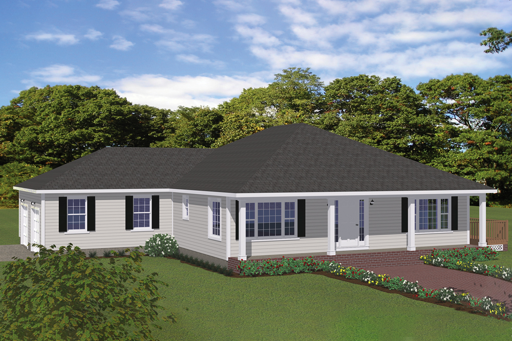One story corner lot house plan #200-1030