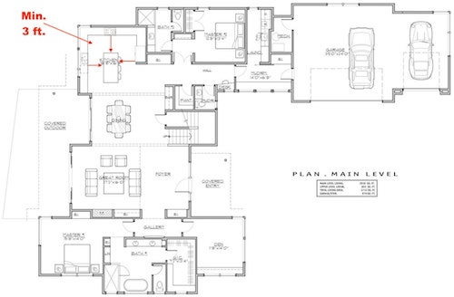 floor plan showing minimum spacing around the island in kitchen of house plan #202-1015