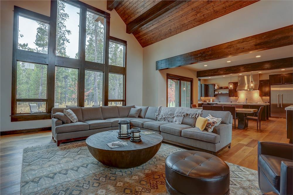 Great Room in a large luxury home with two-story-tall vaulted ceiling