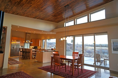 Voluminous  wooden plank ceiling of 3-bedroom, 3.5-bath Midcentury Modern home