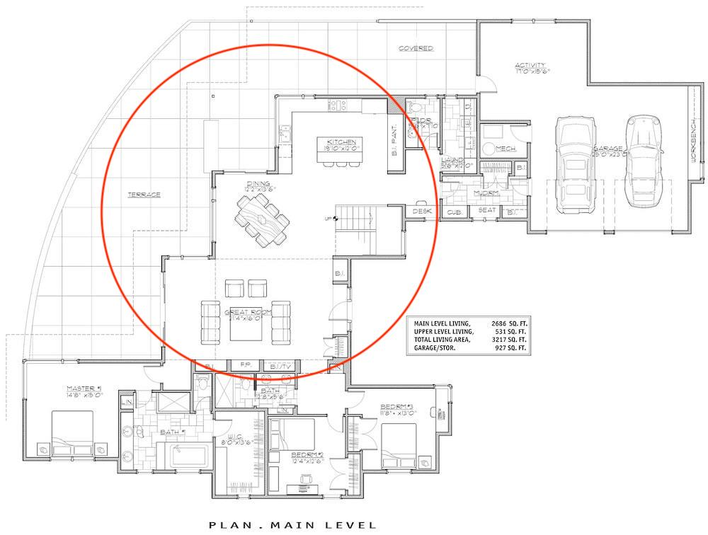 Floor plan of plan #202-1021 focusing on Great Room open layout concept