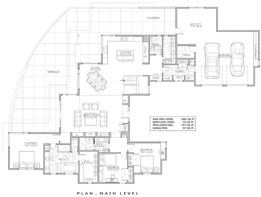 Open floor plan of house plan #202-1021