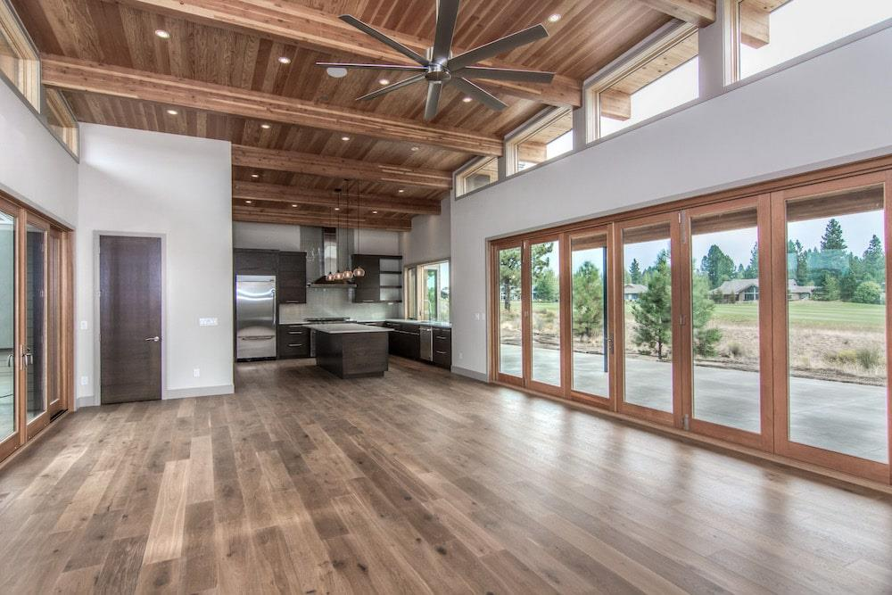 Great Room Modern style home with large patio doors
