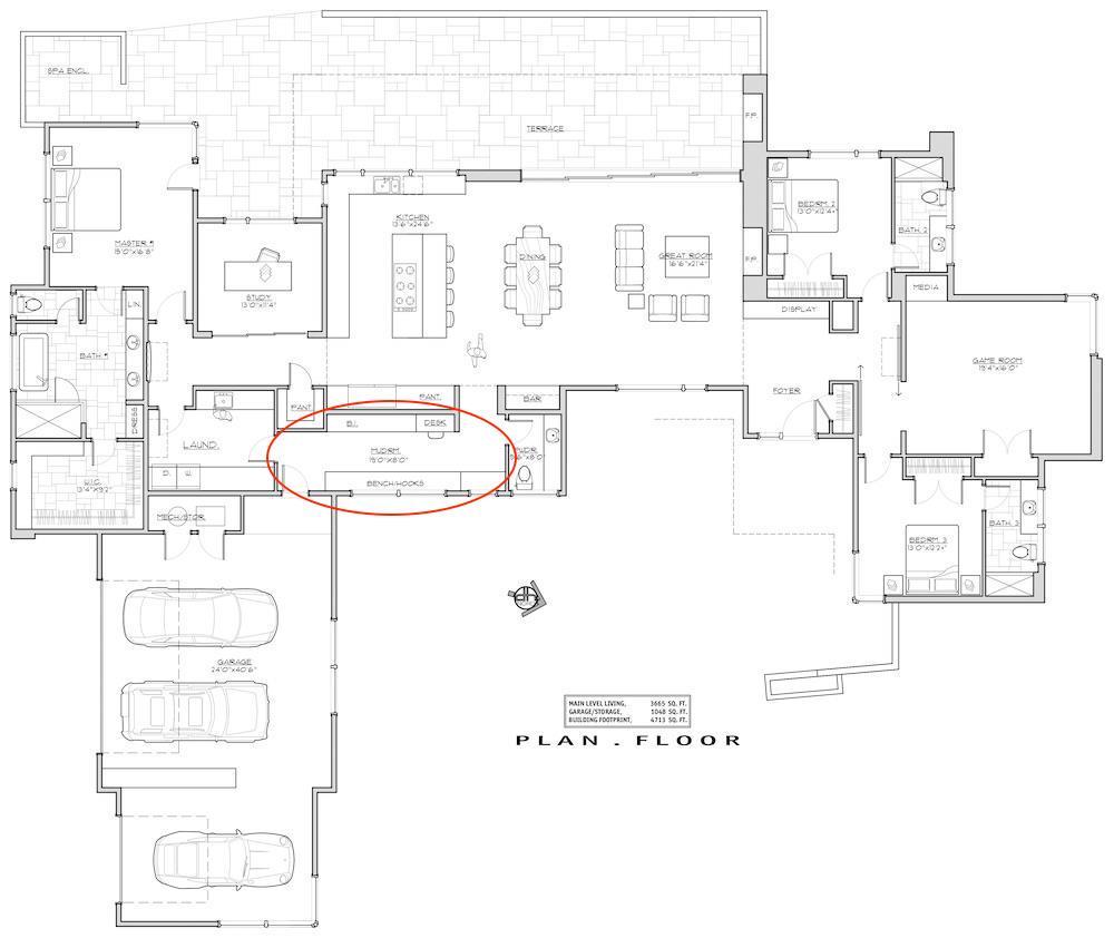 Floor plan for Mid-Century Modern plan #202-1027 showing location of mud room