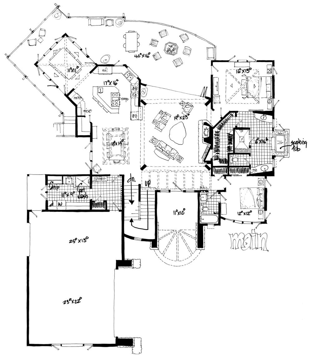 Floor plan for Prairie style home - plan #205-1008