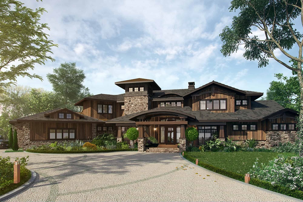 Transitional Prairie-inspired home with deep overhangs