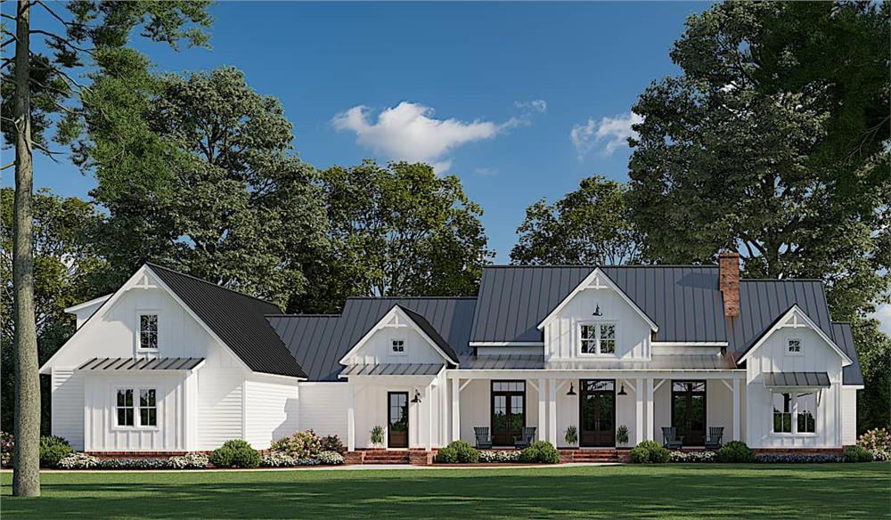 Beautiful Modern Farmhouse style home with white vertical siding, metal roofing, and large front porch
