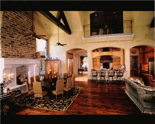Great room with vaulted ceilings (house plan 134-1327).