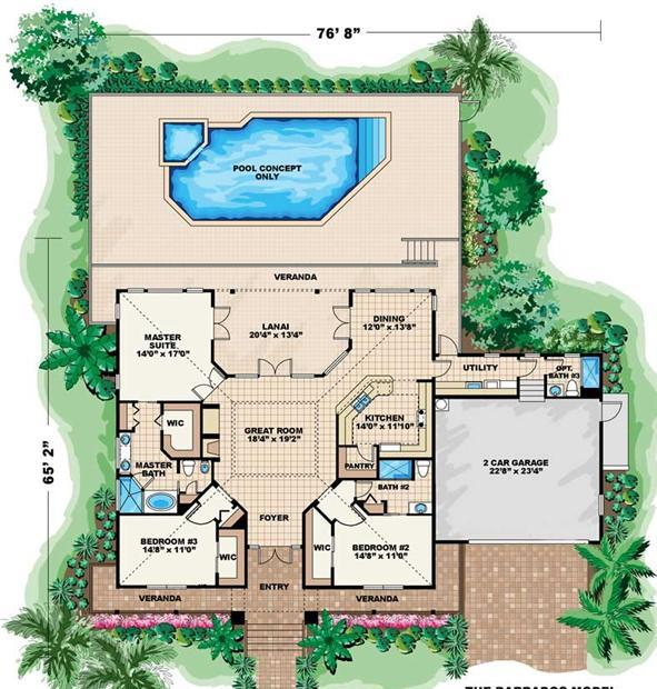 Casual informal and relaxed define coastal house plans for One story floor plans with two master suites
