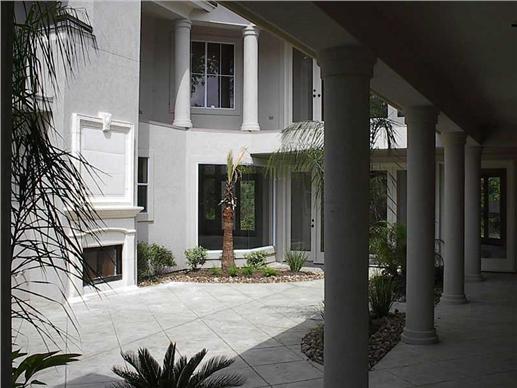Courtyard of Mediterranean style home.