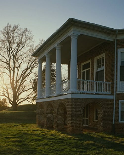View of the South Porch at Jefferson's Poplar Forest