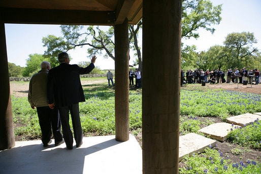 President George W Bush on the porch of his Crawford, TX Ranch