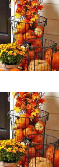 "Pumpkin ""floral"" baskets for the porch."