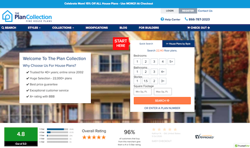 Quick Search box on The Plan Collection home page