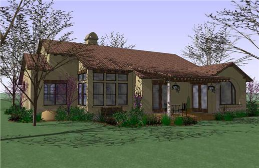 Delightful Tuscan style home plan with rear covered porch and tile roof.
