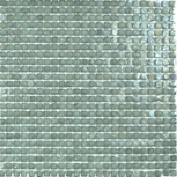 Sheet of recycled glass mosaic tile