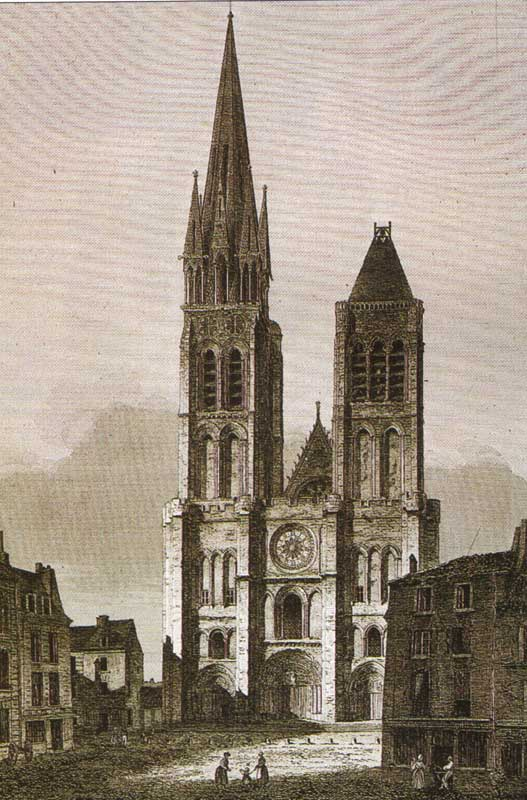 The Basilica of St.-Denis, France, as it appeared in the mid-1840s