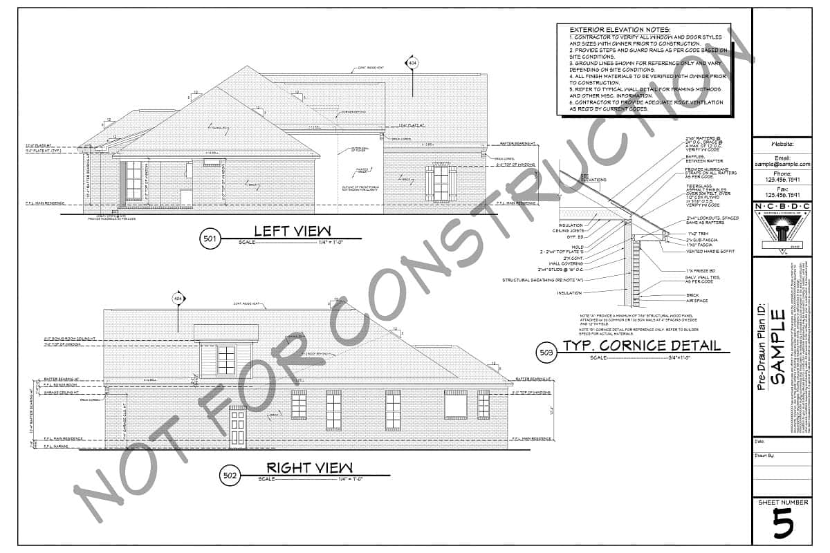 Sample Plans - Exterior Elevations