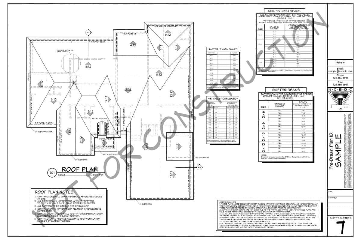 Sample Plan - Roof Plan