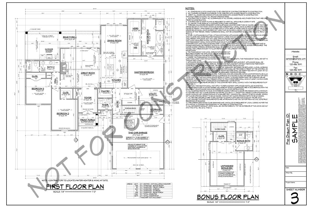 Sample floor plans for first floor and bonus room