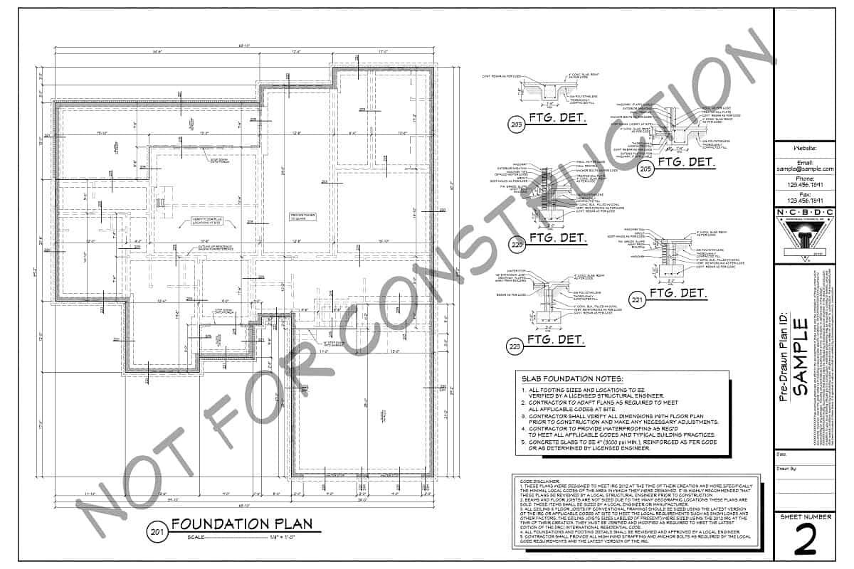 Sample foundation plan for blueprints (basement)