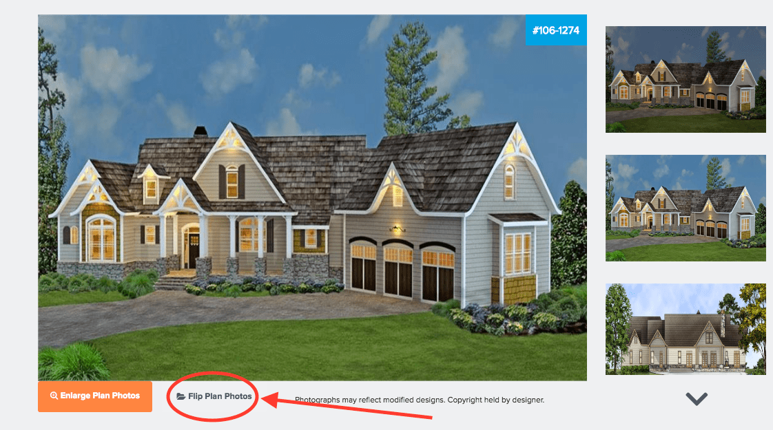 Section of plan product page for House Plan #106-1274