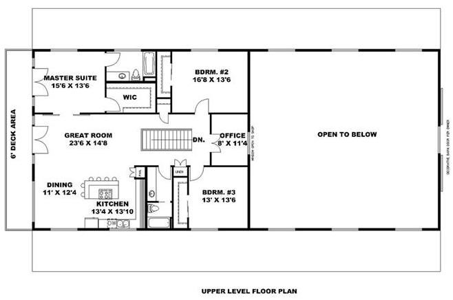 Floor layout of second story of plan #132-1694