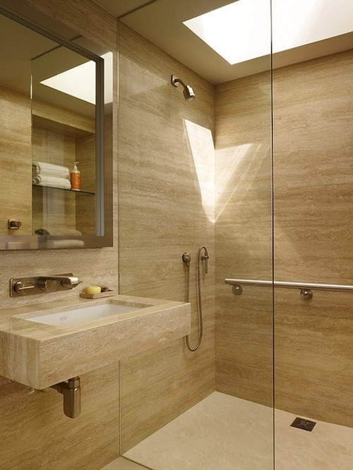 Stylish shower with handsome grab bar