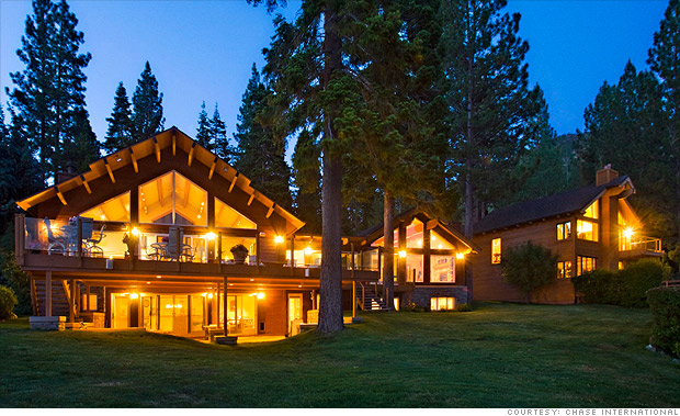 Luxury lodge home, Lake Tahoe at dusk