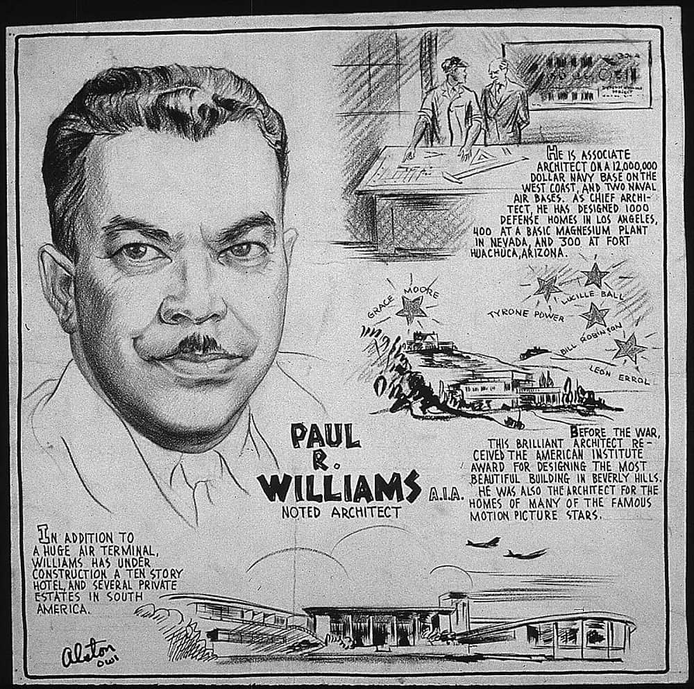 Sketch of Paul Williams with some of his accomplishments circa 1943