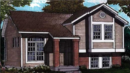 Split level house plan with covered front porch