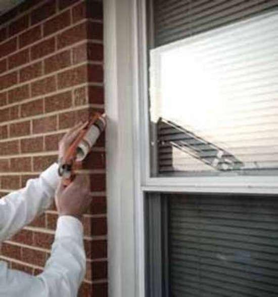 Caulking a window