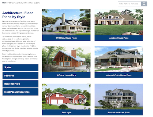 Architectural Styles landing page in The Plan Collection website
