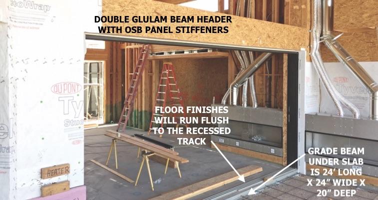 Stacked sliding-door opening under construction