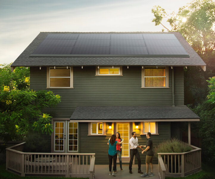 Solar electric power panels installed on a residence