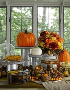 A Thanksgiving buffet feast at home.