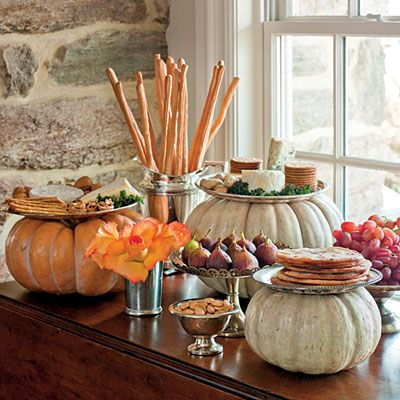 Thanksgiving feast with pumpkin theme.