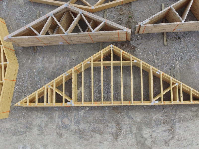 Gable trusses that show various structural web designs