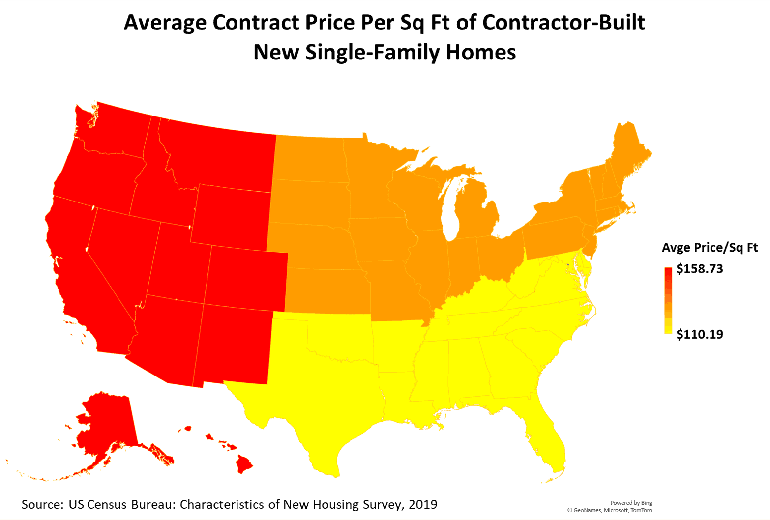 US Map of Average Contract Price Per Square Foot of Contractor-Built New Single-Family Homes by Region