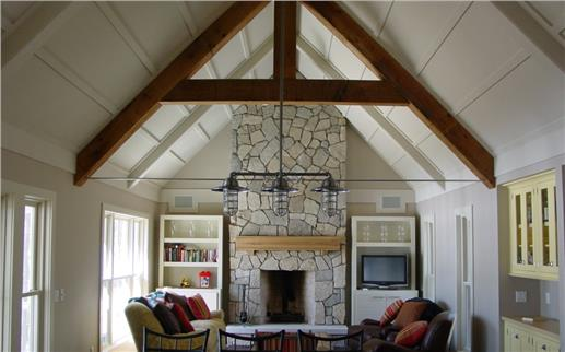 Great room with vaulted ceilings.