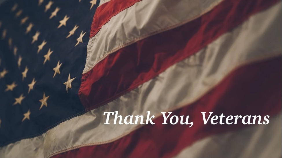 US flag and message expressing gratitude to veterans