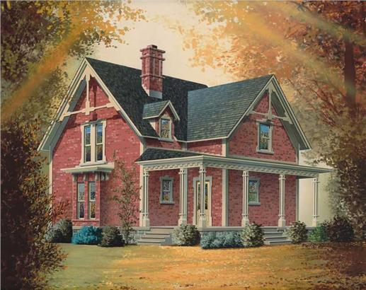 2-story red-brick Victorian style house