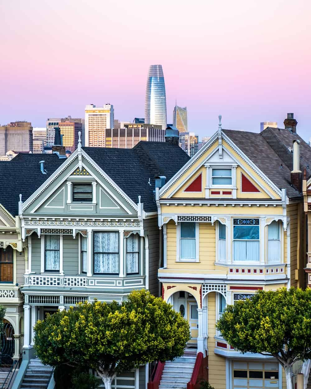 Well preserved examples of Victorian row houses in San Francisco