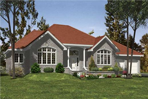 Three-bedroom bungalow plan (#158-1003) has a brick exterior, covered porch and a lovely lawn