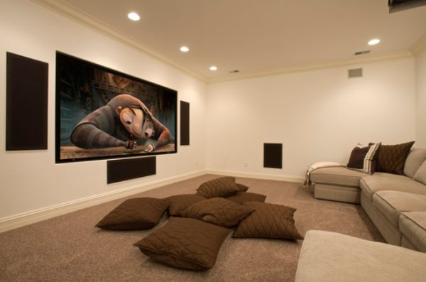Neutral-decor media room in casual style