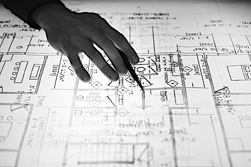 View of a blueprint on a lightbox
