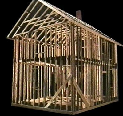 """Example of """"ballon frame"""" construction"""